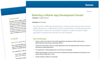 Gartner Overview: Selecting a mobile app development vendor